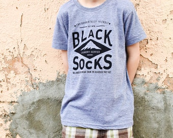 Black Socks Kids Tee | Hand Screen Printed T-Shirt | grey