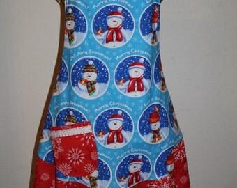 Women's  XL Christmas Apron Red Blue White Snowman Snowflakes