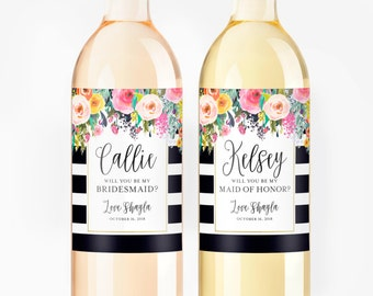 Bridesmaid Wine Labels - Will You Be My Bridesmaid Gift - Bridesmaid Proposal Wine Bottle Label - Asking Maid of Honor Gift