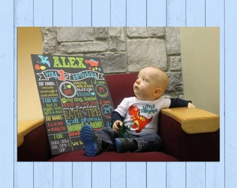 Dinosaur First Birthday Chalkboard Poster | 1st Birthday Chalkboard Sign | Boy or Girl | Dinosaur Party | Birthday Board | *DIGITAL FILE*