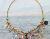"Necklace - Sea of Galilee 16"" Charm Choker with Bronze Prutah - 29 AD Coin - 18K Gold Vermeil"