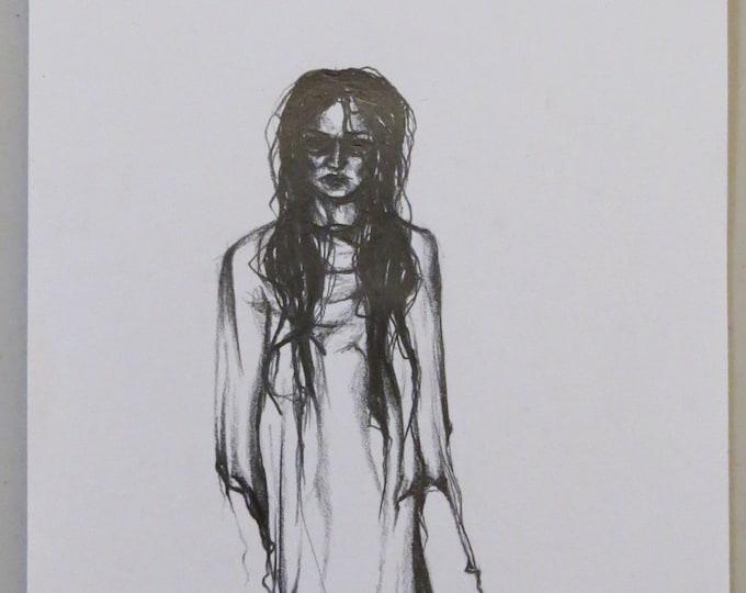 Girl in Dress Sketch ORIGINAL ARTWORK