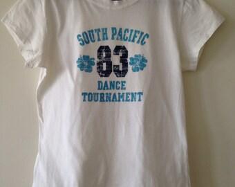 Vintage T Shirt, South Pacific Shirt, S Size, M Size, 1983 T Shirt, Cotton Shirt, White T shirt, Dance T shirt, Teens Shirt,Blue Print shirt
