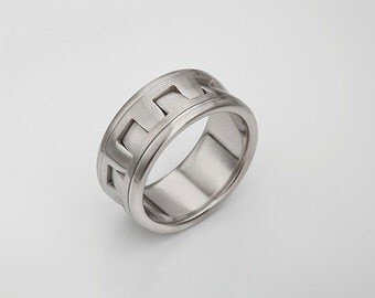 Men's Unique Band, Unique Stainless steel Ring, Geometric Wedding Band, Men Urban Ring, Geometric Ring for Man, size 7