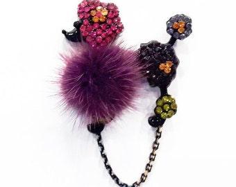 Purple Furry Poodle Magnetic Eyeglass Holder