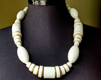 Vintage White and Gold Chunky Necklace / West Germany / 1960's
