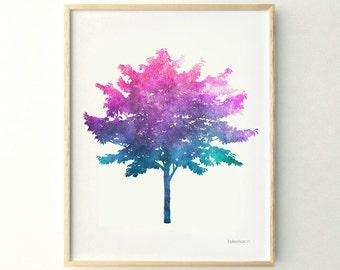 Colorful tree art,  Wall poster DIY Printable print, 11x14 poster print, Blue Purple Tree print, Living room print,11x14 print art
