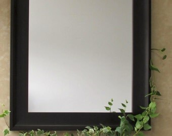Smooth Dark Brown Mirror - Wooden Framed Mirror, Modern Look, Dark Espresso Brown