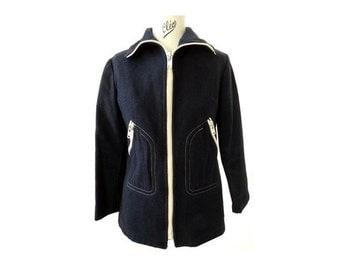 1960s Blue French Caban Blazer coat // 100 % wool sailor jacket