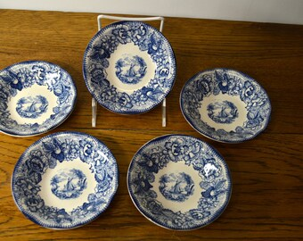 Royal Staffordshire Safe Harbour Blue and White Transferware bowl Set of 5