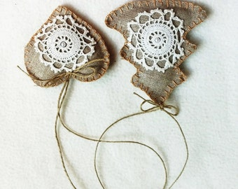 Christmas ornament burlap and lace set of 2 natural vintage romantic Christmas tree ornament Americana Style Simple French Country Cottage