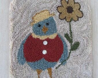 Punch Needle Pattern ~ Blue Bird with a Flower Folk Art Table Mat- punchneedle pdf pattern - punch needle epattern- digital instant download