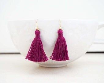 Dark Purple Tassel Earrings