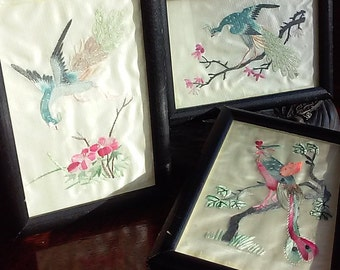 Beautiful Set of 3 framed Antique hand sewn Asian Embroidery with Silk thread on satin fabric, Chinese Art,