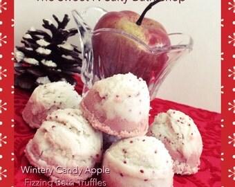 Wintery Candy Apple Fizzing Bath Truffles Set of Four