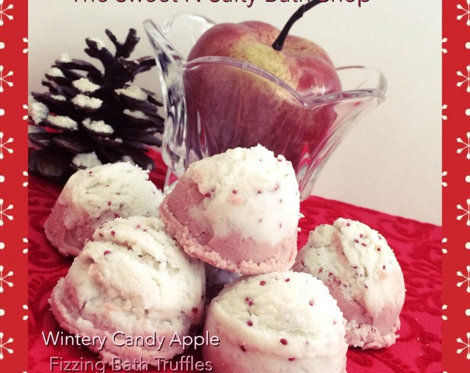 Wintery Candy Apple Fizzing Bath Truffles Set of Four