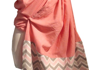 Ring sling blossom, Linen Pink and chevron , Baby sling, baby carrier, baby wrap