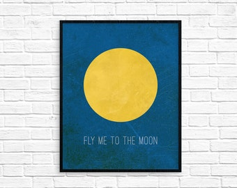 Fly me to the Moon/Art Print/Wall Art/Night Sky/Moon/Room Decor/Kids Room/Instant Download/AP46