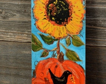 Fall PUMPKIN AND BLACKBIRD painting on reclaimed wood board.