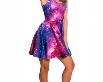 Galaxy Dress, Skater Dress, Womens Dress, Summer Dress, Sexy Dress, Short Dress, Party Dress, Galaxy Printed Dress, Festival Dress Mini