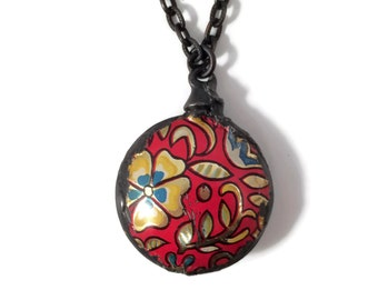 Recycled Tin Bead Necklace - Boho Gypsy Style Necklace - Red Necklace with Floral Pattern