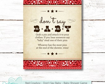 Cowboy Donu0027t Say Baby Game, Baby Shower Game, Instant Download, Printable