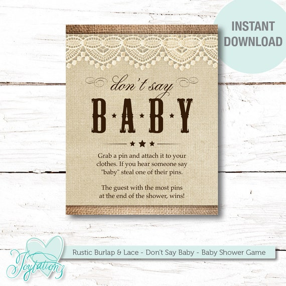 Don T Say Baby Game Sign Baby Shower Game Rustic Burlap And Lace