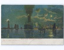New York Harbor at Night Postcard, Kings & Oneonta Railway Post Office (RPO) Postmark, MAR 5, 1906