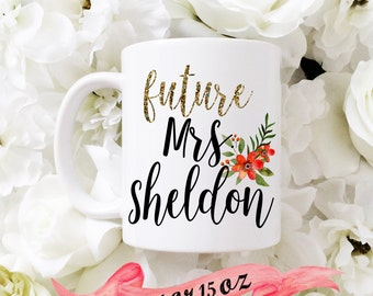 FUTURE MRS Mug / Custom Last Name Fall colors Cute Gift for Engagement or Bridal Shower Favor Bride Wife Personalized 11 oz or 15 oz