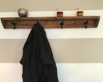 Four hook reclaimed wood towel rack // coat rack with shelf