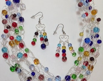 Multi Colored Glass, Festive, Holiday, Vibrant, Wire Crochet, Non-Tarnish Silver Plated Wire, Necklace, Earrings