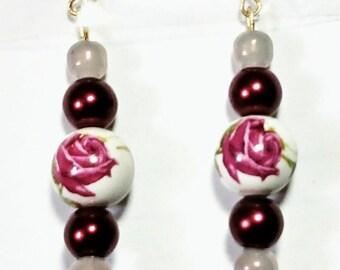 Elegant Rose Earrings,  handmade, rose, earrings