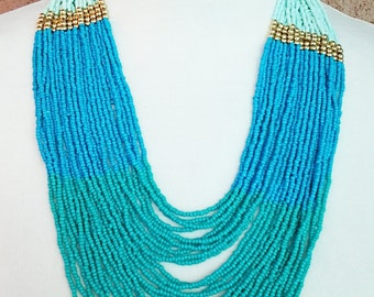 Teal, Blue and Mint Multi Strand Beaded Necklace / Multi Strand Beaded Necklace.
