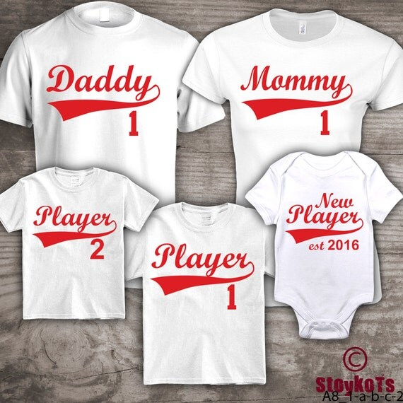 Personalized family t shirts baseball mommy daddy set of 5 for I support two teams t shirt
