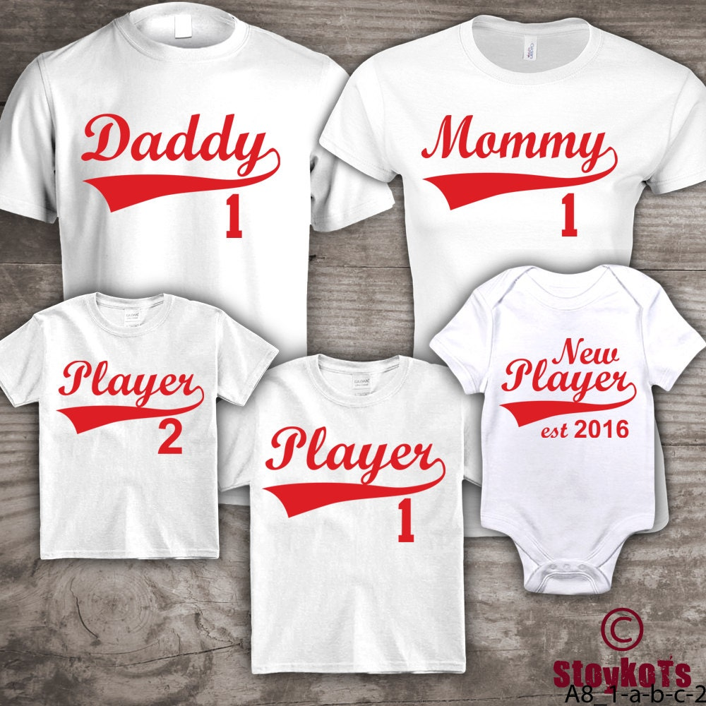 Personalized Family t-shirts Baseball Mommy Daddy set of 5