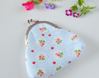 Handmade purse with a silver kiss clasp in a blue floral fabric, Cath Kidston in style