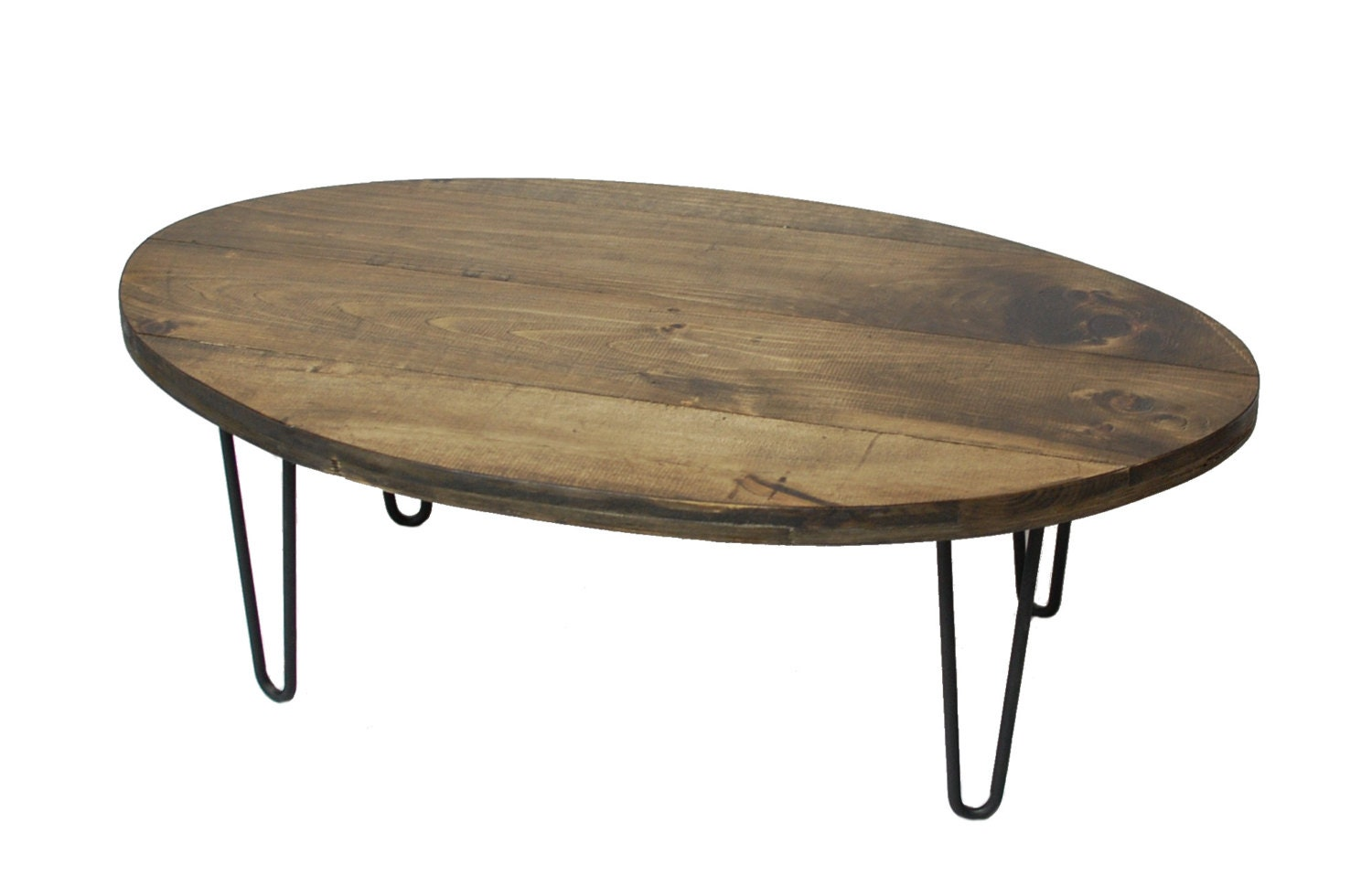 Oval Industrial Coffee Table Reclaimed Wood Furniture Round Etsy