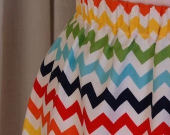 Handmade Misses' Chevron Skirt / Maxi Skirt / Size M / Multi-colored Chevron Skirt