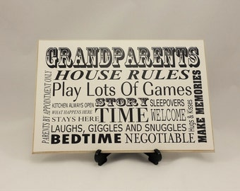 Wooden Sign, Grandparents House Rules, Gifts for Grandparents, Grandparent Sign, Grandparent Gift, Grandparent Decor, wall plaque, B044