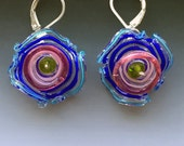 Octopus' Garden Earrings in Cobalt Blue & Pink: handmade glass lampwork beads with sterling silver components