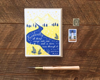 A River Runs Through It, Norman Maclean, Letterpress Note Card, Blank Inside