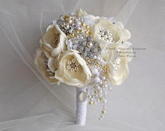 white wedding bouquet of luxury fabrics. a bouquet of pearls. brooch bouquet of peonies from fabric with crystals