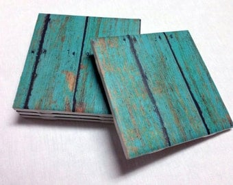 Turquoise Coasters - Teal Wood Design - Home Decor - Drink Coasters - Tile Coasters - Ceramic Coasters - Table Coasters