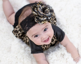 Leopard Flower Headband, Baby Flower Headband, Newborn Headband, Baby Girl Headband, Baby Leopard Headband, Photography Prop, 909