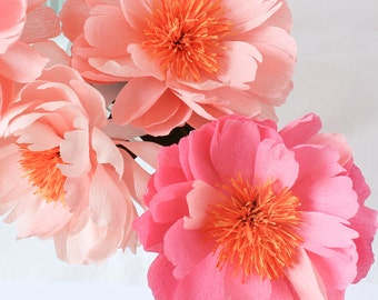 Set of 3 Open Paper Peonies- Paper Flowers- Paper Anniversary- 1st Anniversary- Paper Flower- Paper Decoration- Crepe Paper Flowers