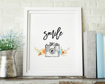 Smile Camera Watercolor Floral Decorative Digital Print INSTANT DOWNLOAD