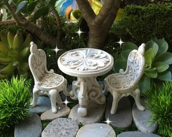 Fairy garden table, miniature table and chairs, fairy table and chairs, miniature dining, fairy dining, miniature furniture, fairy furniture
