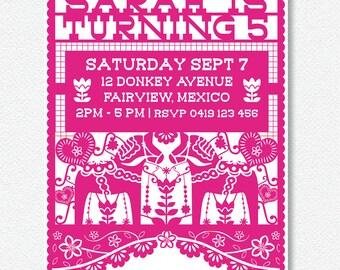 Picado style Fiesta invitation |  Personalised Digital file