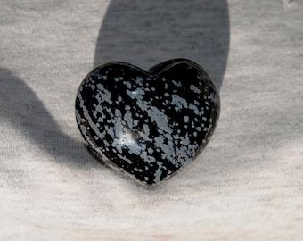 Black Snow Flake Obsidian Puffy Heart
