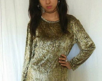 GOLDEN TOP -blouse, tshirt, sweater, zebra, animal print, stripes, striped, gold, 90s, 80s, clueless, party, shiny, club kid-